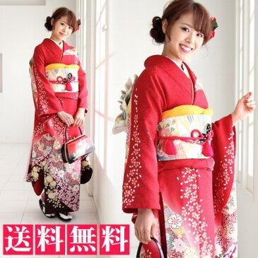 【レンタル】【最大20日間】 正絹 振袖 レンタル 成人式 セット 20点フルセット 派手 「赤 桜 菊 鹿の子」成人式から結婚式やフォーマルまで。 着物 kimono フリソデ ふりそで rental れんたる せいじんしき セイジンシキ着物レンタル 貸衣装