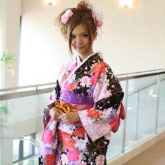 振袖 レンタル 成人式 セット 振袖20点フルセット 黒 成人式から結婚式やフォーマルまで 着物 kimono フリソデ ふりそで rental れんたる せいじんしき セイジンシキ バッグ bag