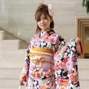 【レンタル】【最大20日間】 振袖 レンタル 成人式 セット振袖20点フルセット 派手「黒地に赤紫花づくし」成人式から結婚式やフォーマルまで 着物 kimono〔消費税込み〕