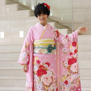 【レンタル】【最大20日間】 振袖 レンタル 成人式 セット 正絹京友禅 20点フルセット「ピンク地にピンク赤牡丹と水色ぼかし桜」成人式から結婚式やフォーマルまで。 着物 kimono フリソデ ふりそで rental れんたる せいじんしき セイジンシキ〔消費税込み〕