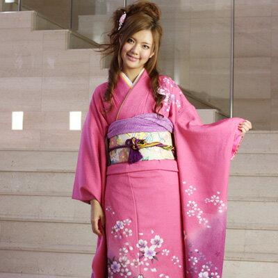【レンタル】【最大20日間】 振袖 レンタル 成人式 セット正絹京友禅 20点フルセット 「ピンク 紫 パープル 桜」成人式から結婚式やフォーマルまで。 着物 kimono フリソデ ふりそで rental れんたる せいじんしき セイジンシキ〔消費税込み〕