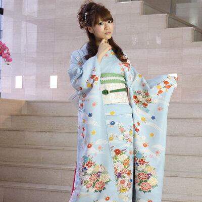 【レンタル】【最大20日間】 振袖 レンタル 成人式 セット正絹京友禅 20点フルセット 「青 ブルー 水色 牡丹 菊 金彩刺繍」成人式から結婚式やフォーマルまで。 着物 kimono フリソデ ふりそで rental れんたる せいじんしき セイジンシキ〔消費税込み〕