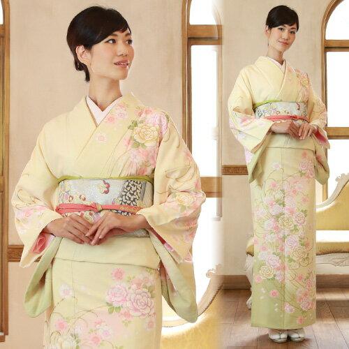 【レンタル】 訪問着 19点フルコーディネートレンタルセット「クリーム色地に桜と牡丹」結婚式 入学式 七五三