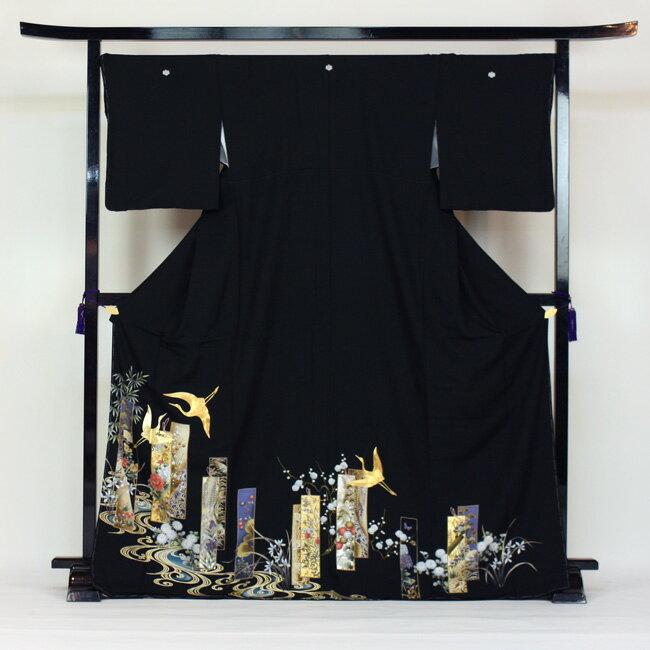 【レンタル】 留袖 レンタル 着物 黒留 黒留袖 19点フルコーディネートセット 結婚式 〔消費税込み〕