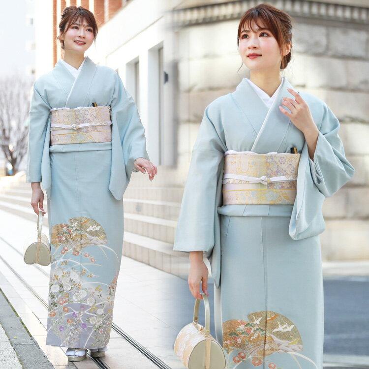 【レンタル】 色留袖 レンタル 結婚式 水色 正絹色留袖19点フルコーディネートセット