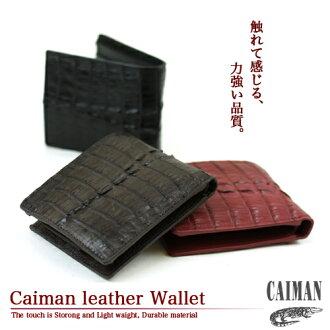 """Caiman leather two fold wallet"" gentleman for ladies ' men's wallet purse wallet unisex leather crocodile two fold wallet two fold wallet [zu]"