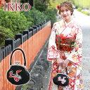 〔zu〕IKKO 成人式 振袖用 がま口バッグ「黒地に鶴と花紋刺繍」和装バッグ 成人式 バッグ 振袖 着物 和装 和服 花柄 レトロ