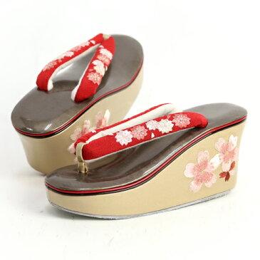 桜刺繍 足型厚底ヒール草履 赤 草履 成人式 厚底 振袖 卒業式 ヒール こっぽり ぽっくり 赤 ゴールド