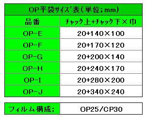OP平袋サイズ表