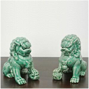 陶器製の緑の獅子の置物[2体セット]