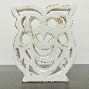透かし彫りフクロウのオブジェ(ホワイト)