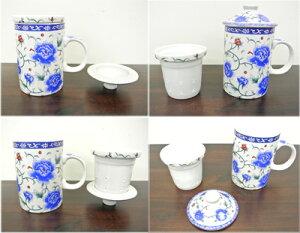 茶漉し付マグカップ[青い薔薇]