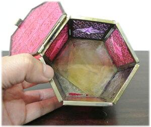 すりガラスの六角形小物入れ
