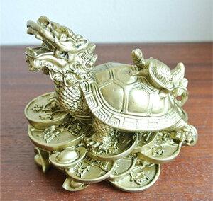 財運UPレジン製の銭龍亀の置物