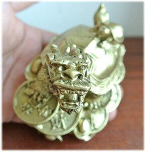 財運UP!レジン製の銭龍亀の置物