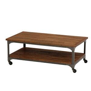 キャスター+棚付きローテーブル