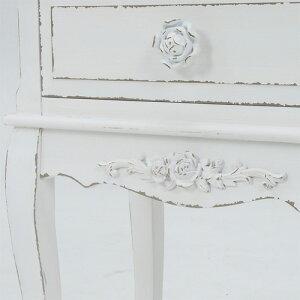 アンティーク調薔薇の彫刻入り猫脚サイドテーブル[ホワイト]