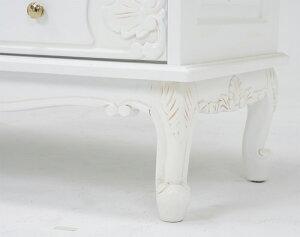彫刻入り6引出し猫脚ワイドチェスト[ホワイト]