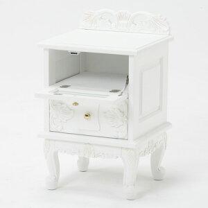 彫刻入り猫脚サイドチェスト[ホワイト]