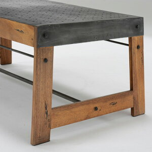 スチール天板+マホガニー材ローテーブル