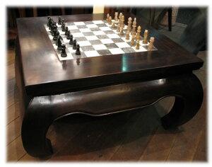 チェス盤付きローテーブル