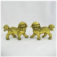 アジアン雑貨アンティーク風金の獅子ペアセット