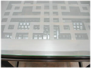 格子ガラスパソコンデスク