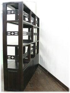 アジアン・ベトナム家具格子ガラス扉付きブックシェルフ