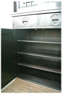 上下段引出し付き格子扉食器棚