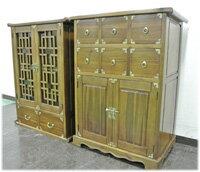 上下段分離型金物付き格子扉食器棚