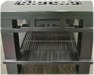 バンブー棚付き格子ローテーブル