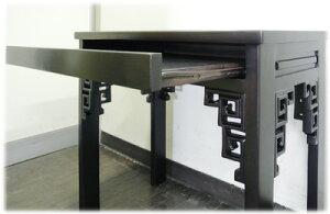 スライド棚付透かし彫りPCデスク
