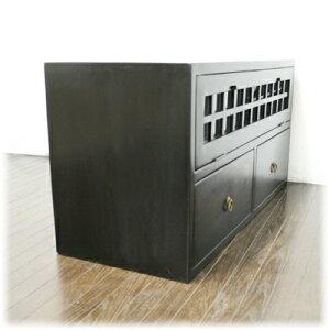 格子前開き扉2引き出しTVボード