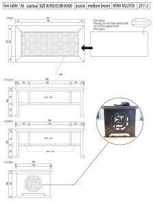 海州小盤オープンラック付き格子ガラスローテーブル