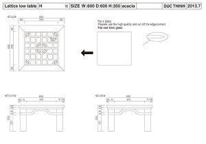 オリエンタル調格子ガラスローテーブル