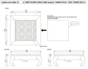 格子アジアンローテーブル