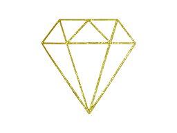 アイロンプリントシート 宝石 2 ゴールド ラメ 縦 5cm 横 5cm