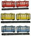 """""""ワッペン屋さんラボオリジナルワッペン""""赤い電車S2個と線路ワッペン(アイロン接着タイプ)"""