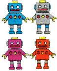 """""""ワッペン屋さんラボ オリジナルワッペン""""  ロボット兄弟姉妹 4個で1セットワッペン(アイロン接着タイプ)"""