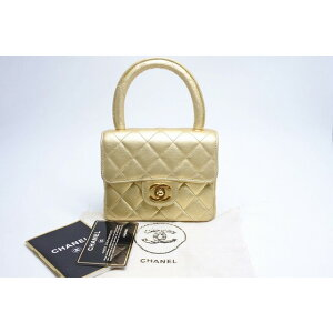 ◆ [USED/Used] ◆ Free Shipping ◆ [Used] CHANEL CHANEL Parent-Child Bag Children's Handbag Mini Gold Pure Color Beauty Goods Phantom 19042 [RCP]