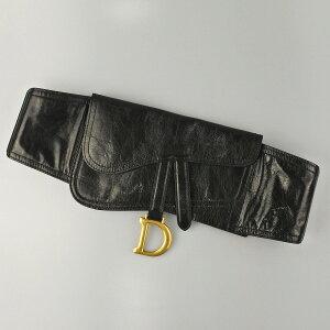 ◆[USED/中古]◆送料無料◆【中古】Christian Dior ディオール サドルベルト D金具 ブラック 黒 レザー ラムスン レディースベルト【RCP】【中古】