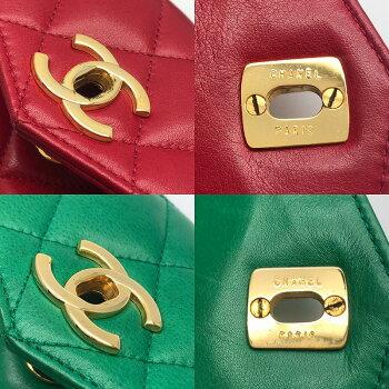 ◆[USED/美品]◆送料無料◆シャネルCHANEL:マトラッセ赤&緑バッグ2ネイビーベルトウエストバッグ◆【RCP】【中古】◆