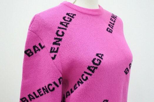 ◆[USED/中古]◆送料無料◆バレンシアガBALENCIAGA:ロゴニットショート丈ピンク×ブラックロゴサイズ34レディーストップス/セーター/ショート丈ニット美品◆【RCP】【中古】◆