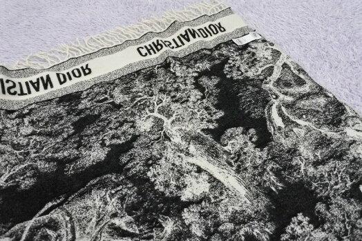 ◆[USED/中古]◆送料無料◆ChristianDiorクリスチャンディオール:ウールラグTOILE大判ウールストールブラック黒×ホワイト白美品◆【RCP】【中古】◆