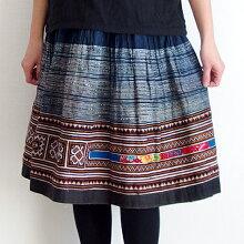 【送料無料】モン族ミディアムスカート773ミディアム丈モン族手刺繍クロスステッチ藍染コットン着丈60cm