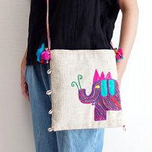 【メール便】手織りコットンヘンプ手刺繍ショルダーバッグ03Bタイ北部の手織り生地とカラフルな象の手刺繍モダンで洗練されたエスニックテイストの一点ものバッグ