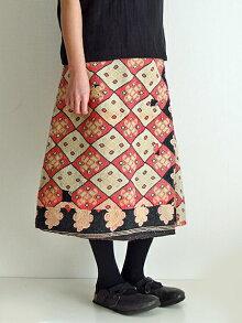 【送料無料】カンタ刺繍リバーシブルラップスカート12インドカンタ刺繍ラリーキルト刺し子刺繍巻きスカート1点もの大人のエスニックファッションアジアン雑貨