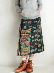 【送料無料】カンタ刺繍リバーシブルラップスカート14インドカンタ刺繍ラリーキルト刺し子刺繍巻きスカート1点もの大人のエスニックファッションアジアン雑貨