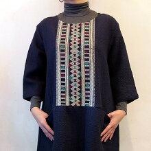 【送料無料】ラオス浮き織りチュニックワンピースブルーB浮き織りの素敵な古布を贅沢に使っています一点もの手仕事のよさを感じる大人のエスニック