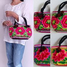 モン族刺繍ミニトートバッグ330モン族のカラフルな刺繍布を両面に使ったミニサイズのトートバッグショルダーバッグ